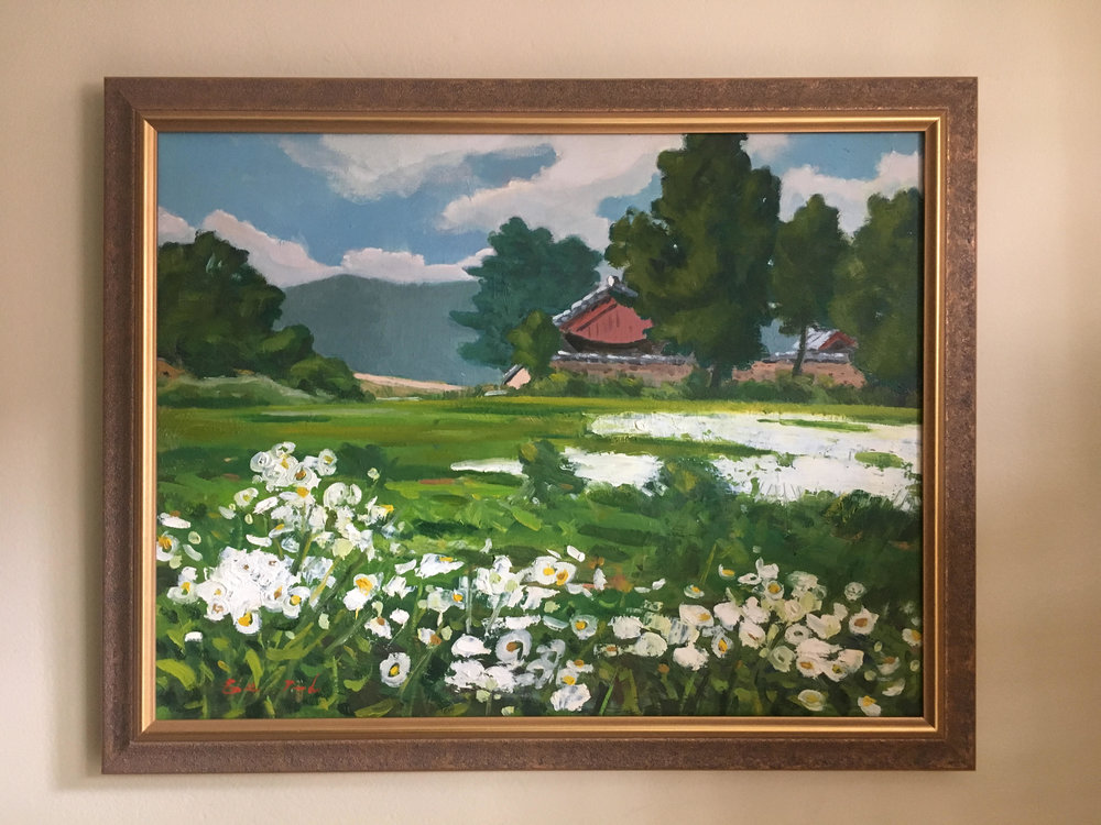 "Summer 여름 - Oil on canvas16"" x 20"", framedStarting bid:  $200Current highest bid: $220To place a new bid: $225+Mr. O's inspiration for this painting were summers spent at his grandmother's countryside home; the flowers in the foreground are called 개망초 ""Gae-mang-cho""  (Blossom Daisy Fleabanes)."