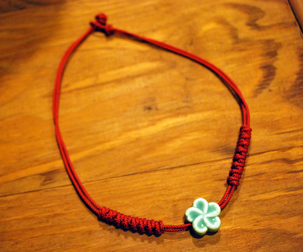 Knotted Necklace     - Color:  RedStarting Bid:  $60Current highest bid:  $75To place a new bid: $80+
