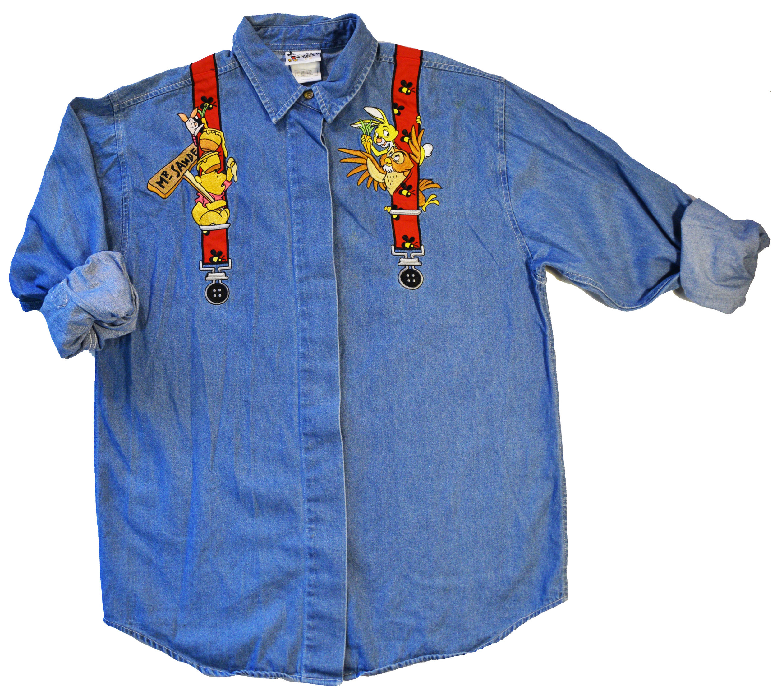 f18a408469 VINTAGE WINNIE THE POOH Embroidered Denim Button Up Shirt - 467 ...
