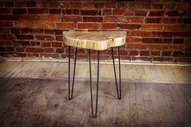 Let me know what your thoughts are on this spalted maple cookie side table! . . . #slabtable #liveedge  #woodworking #reclaimedwood  #industrialmodern #industrial  #industrialdesign #design