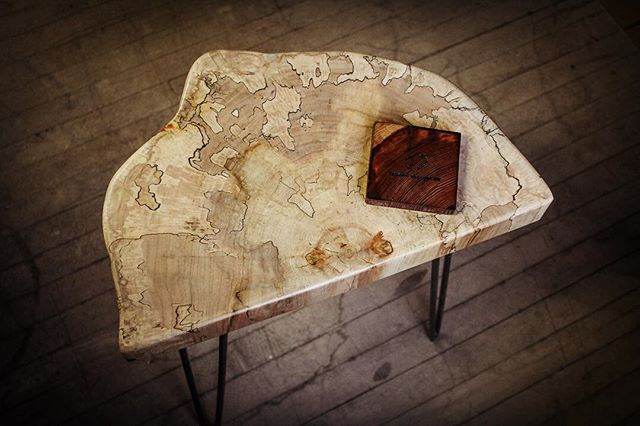 A quick look at the top of this spalted maple side table! . . . #liveedge  #slab  #woodworking #design #bisondesignco #design  #interiordesign #industrialdesign