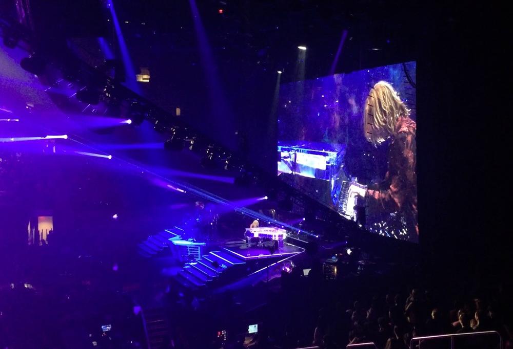 Yoshiki playing his signature custom Kawai Yoshiki transparent grand piano. He even played the Star Spangled Banner at one point!