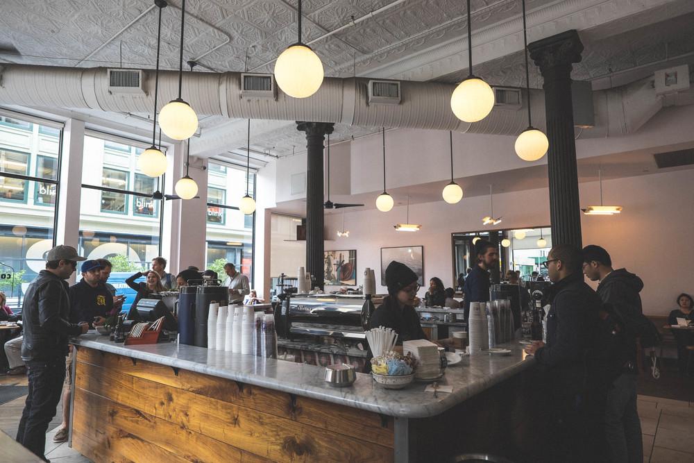 La Colombe, best cup a joe + style watching spot in Manhattan.
