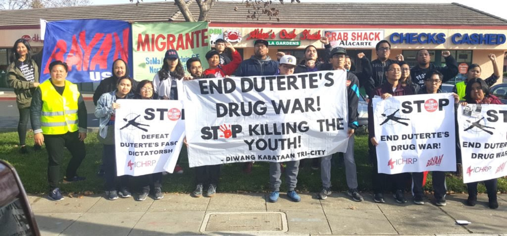 "Protesters gathered in front of Manila Garden restaurant in Hayward outside the planned event of Philippine National Police Chief GeneralRonaldo ""Bato"" dela Rosa, to send the message ""he is not welcome in the San Francisco Bay Area."" Photo Credit:  INQUIRER/JunNucum"