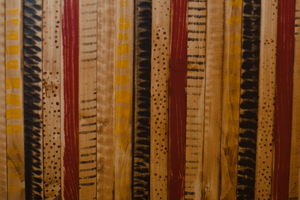 """Bohemian""    A mix of stains and earth tone colors painted on individual pieces of wood and assembled in a random pattern."