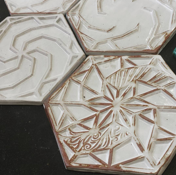 Sneak preview of a relief tile, hand-made, fired & glazed in the Braddock Carnegie Library's bath house studio by by Braddock Tiles' master ceramicist KT Tierney.  A reward in our upcoming  Kickstarter projec t, launching October 13th.