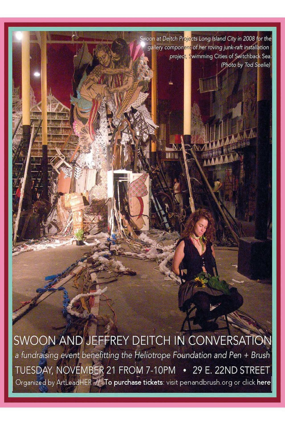 JOIN US!! Tuesday, November 21, 2017 at Pen & Brush gallery for an evening of art & a conversation between SWOON and JEFFREY DEITCH. The pair will talk street art, her work, and their epic artist-mentor relationship. The event is a fundraiser to benefit Pen + Brush and Heliotrope Foundation. Pen + Brush Gallery is a 123-year old non-profit institution that promotes gender equity by supporting emerging female artists & writers. 8 new Heliotrope prints by women artists, curated by Pietro Truba of 1xRUN, will be released and exhibited for this event. Each attendee will receive their choice of one print in a gift bag. Please come out for some inspiration shared by Swoon & Deitch, as well as Pen & Brush's current exhibit King Woman, curated by Mashonda Tifrere, founder of ArtLeadHER ... all while supporting our organizations that aim for fostering social change. Tuesday, November 21, 2017 7-10pm The Pen and Brush, Inc. 29 East 22nd Street, NYC   The Heliotrope Print Suite Winter 2017 Collection Featuring 8 New Limited Edition Prints Curated By 1xRUN   Swoon Monica Canilao, Xara Thustra, Ektor Garcia & Elena Stonaker Mary Iverson Lauren Napolitano Ouizi Michelle Tanguay Ellen Rutt Sheryo  Visit  http://www.penandbrush.org//event/artist-and-mentor-conversation-deitch-swoon1  for more info. Purchase advance tickets here:  https://www.eventbrite.com/e/deitch-x-swoon-tickets-39234252706   The Winter 2017 Heliotrope Print suite will be first available at the Pen + Brush Fundraiser. The prints will be available to the public on Wednesday, 11/22 at  heliotropeprints.org  and  1xRUN.com  and are priced at $60 each.
