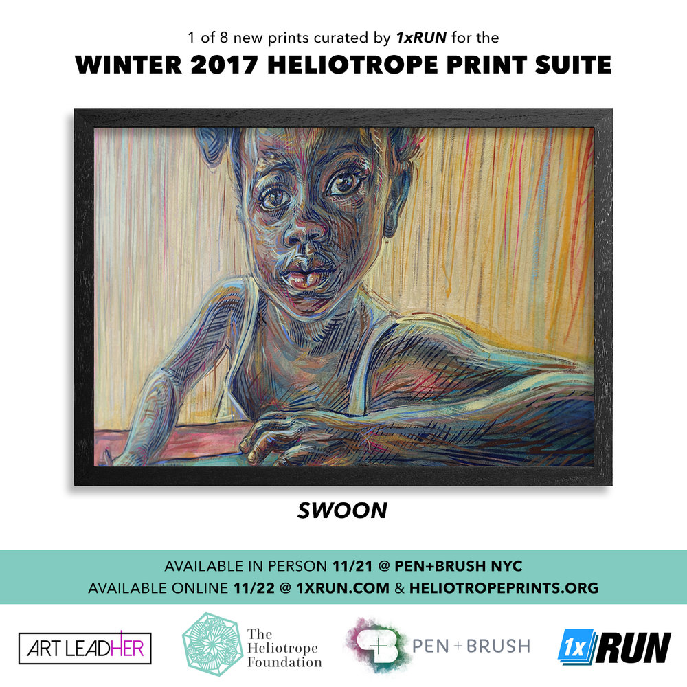We proudly present to you the Winter 2017 Heliotrope Print suite. Our new release is now available online on both our shop  HeliotropePrints.org  and  1xRUN.com . This collection featuring an all-female lineup was thoughtfully selected by Pietro Truba of 1xRUN. If you aren't already familiar with 1xRUN, they are a leading publisher of limited edition fine art editions, original art and books culminating the freshest of the new contemporary movement and based in the Motor City. All prints are numbered editions and embossed with our Heliotrope logo. New collection features work by:    Swoon   Monica Canilao ,  Xara Thustra , Ektor Garcia &  Elena Stonaker   Mary Iverson   Lauren Napolitano   Ouizi   Michelle Tanguay   Ellen Rutt   Sheryo     Shop these new suite and our entire collection on our site. As the holidays are upon us, these collectible fine art prints make exceptional, affordable gifts that support a good cause, with the sale going to fund our ongoing community work in Braddock and Haiti. While our new prints are priced at $60 each, there is still time to grab the rest of our collection at $50 apiece before their price goes to $60 on Dec 4, 2017.