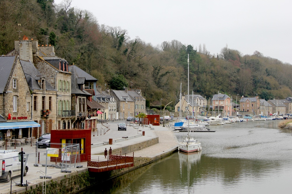 The Port of Dinan, France along the River Rance