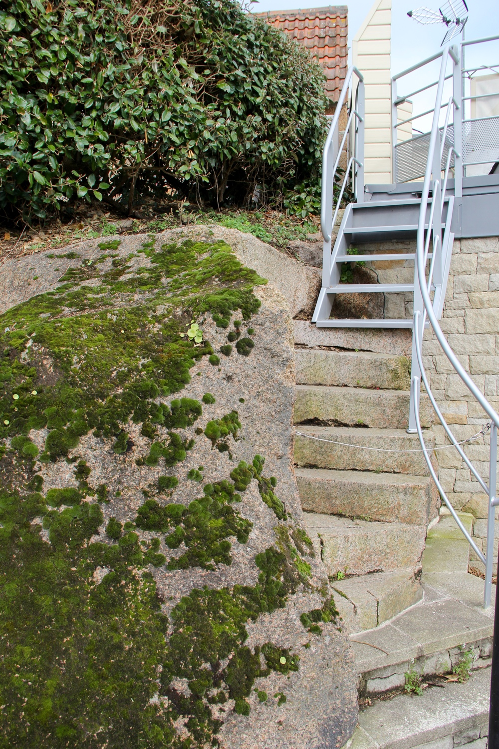 Porch steps along the Pink Granite Coast