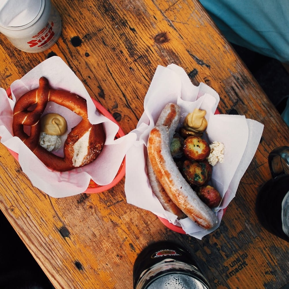 A pretzel and brats from Biergarten