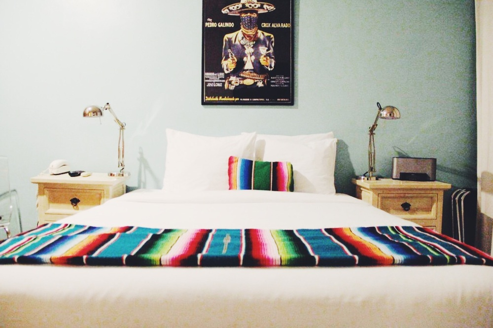 Modern Mexican themed rooms at the affordable, yet stylish Agave Inn in Santa Barbara