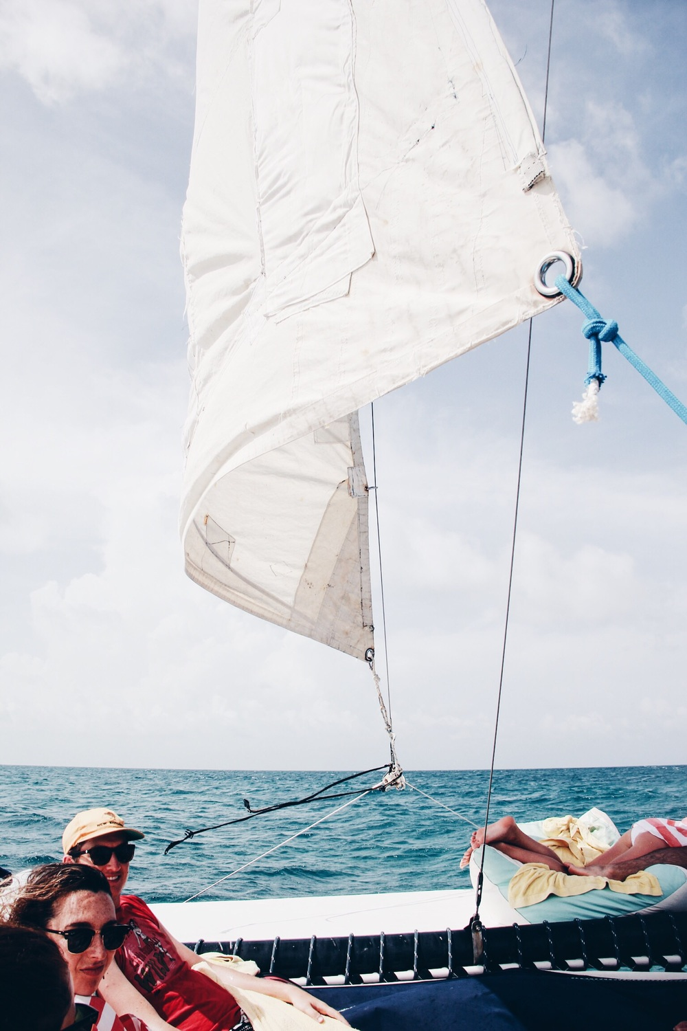 Sailing on our catamaran snorkeling and Caye Caulker day trip