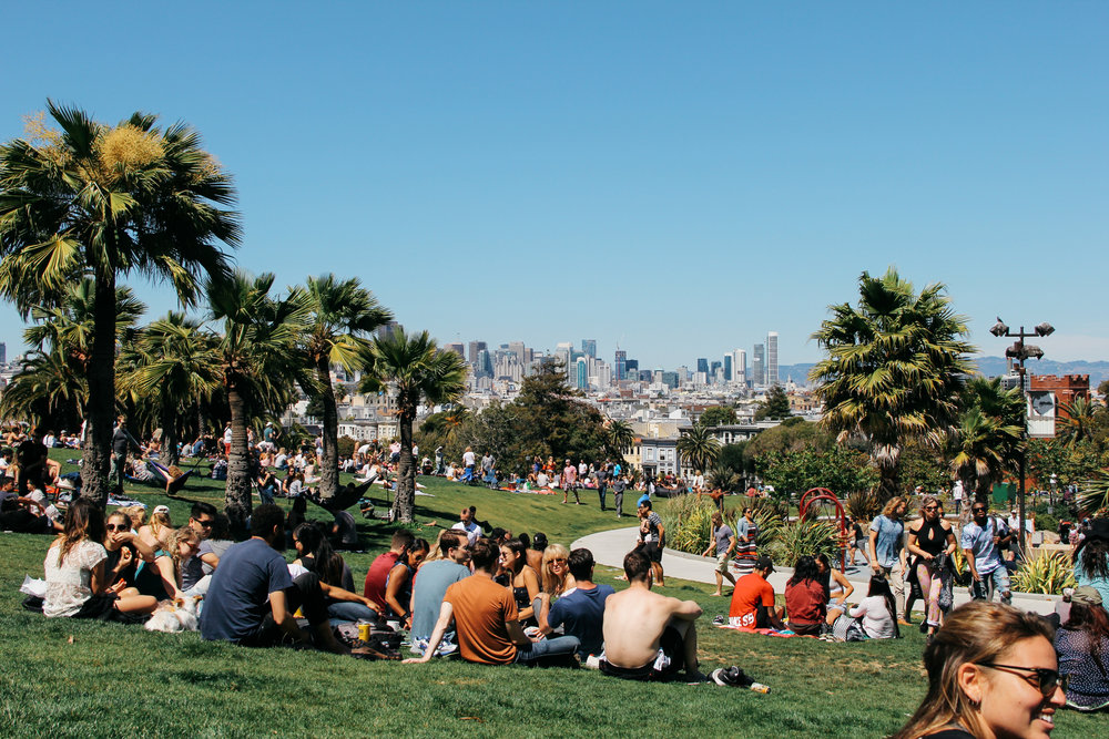 Dolores Park on a sunny weekend afternoon