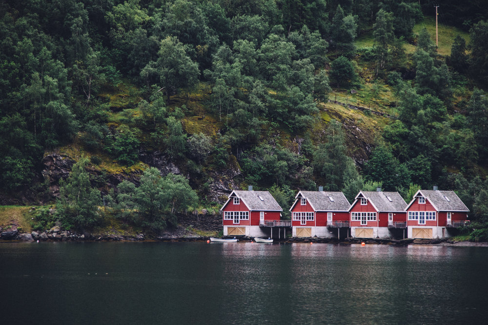 Red Cabins in Flam Norway
