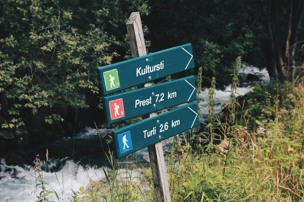 "Hiking signs near 29|2 Aurland.  We hiked part of the ""Prest"" route to the Stegastein Lookout."