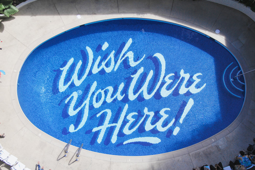 Wish you were here pool at the Surfjack in Honolulu