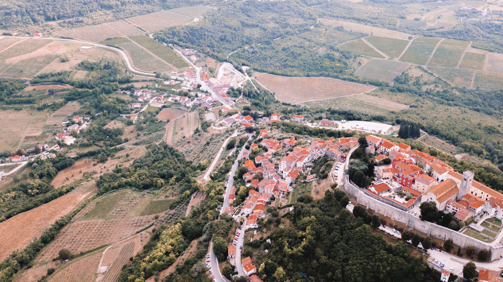 Drone view of Motovun | Croatian Wine Country, Istria