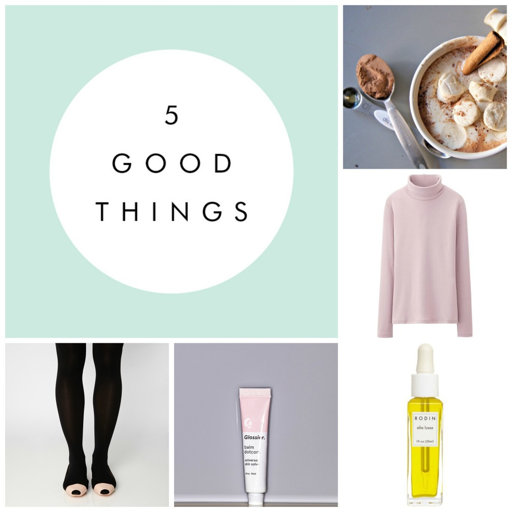 Jaimen shares her 5 must-haves for getting through the freezing nyc days ahead. this paleo hot chocolate recipe this Uniqlo turtleneck - available in pretty shades like this pink one, plus it's under $6! this Rodin face oil - pricey at $170 but worth it. Glossier's balm dotcom - i slather this all over my cheeks and lips during my morning runs at below zero temps and have yet to get windburn. the stuff is amazing. Mynxx ultra nude flats - and the most genius award goes to Mynxx - these are tiny slip-ons that attach to any of your shoes and make them winter-ized - so no more slipping around the city streets. wish they would have had these when i lived upstate!