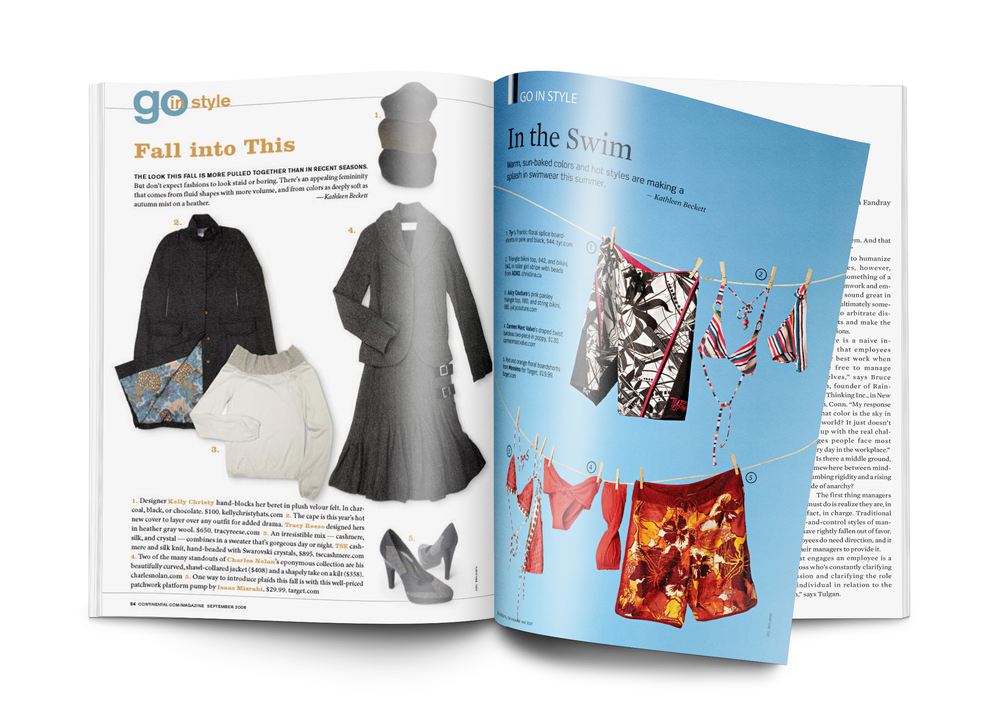 "Continental Airlines Magazine ""Go Style"" Section layout."