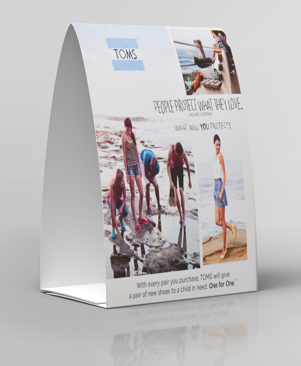 In-store tent card for TOMS Shoes Summer collection.