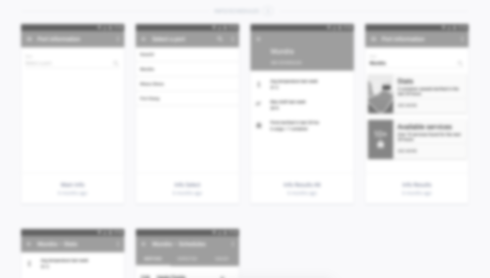 A series of layouts in InVision used to test information architecture (content blurred intentionally).