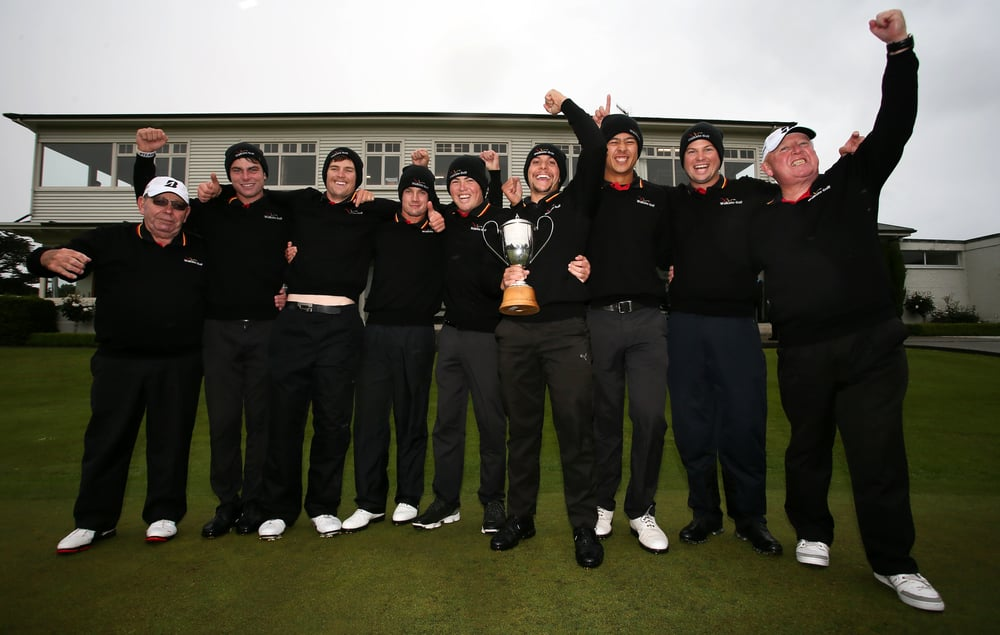 Guess who won the men's Interprovincials' tournament. The Waikato team (from left to right):  John Bridle (chairman Waikato Golf), Nick Coxon, Chris Charlton, Daniel Graham, Sam Vincent, Luke Toomey (team captain – holding cup), Denzel Ieremia, Jason Boobyer (team manager), Terry Booth (chief executive Waikato Golf).