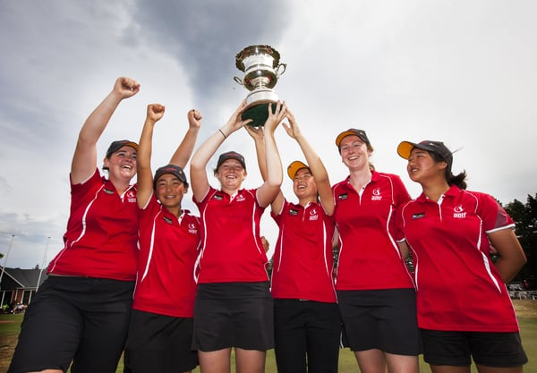 Interprovincial delight. The winning Canterbury team from the women's Interprovincials (from left to right): Hillary O'Connor, Momoka Kobori, Amelia Garvey, Juliana Hung, Catherine Bell, Jasmine Rou