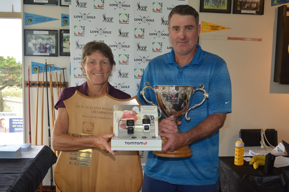 Jill Morgan and Brett Steven pose with their trophies following their wins at the New Zealand Mid-Amateur Championships in Northland.