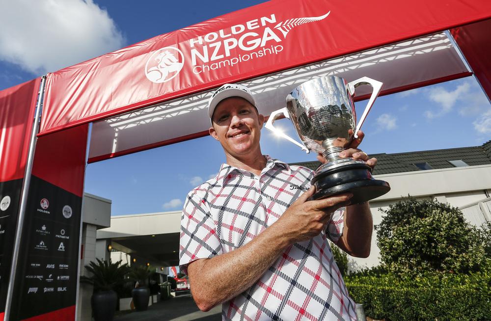 Brad Kennedy of Australia with his NZ PGA Championship trophy. Photo: Simon Watts BW Media.