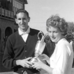 Bob Charles and his wife Verity pose with The Open Championship trophy in 1963