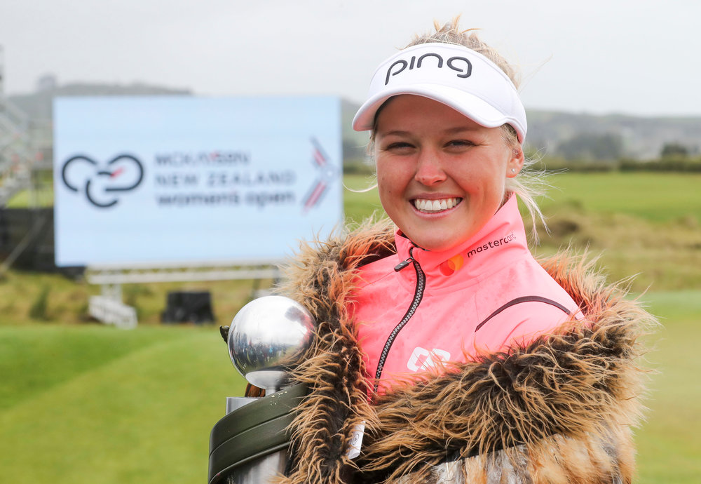 Brooke Henderson from Canada is all smiles following her win in the New Zealand Women's Open PHOTO Photosport