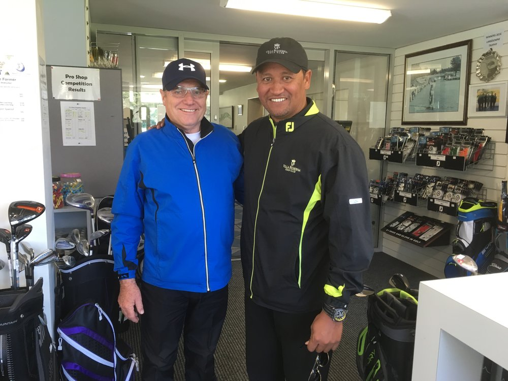 Michael Campbell (right) with Manor Park Golf Club coach Bruce Farmer when he made a return visit to Wellington in 2016