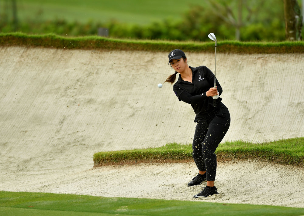 Wenyung Keh, in her all black colours, at the Asia Pacific Amateur in Singapore.
