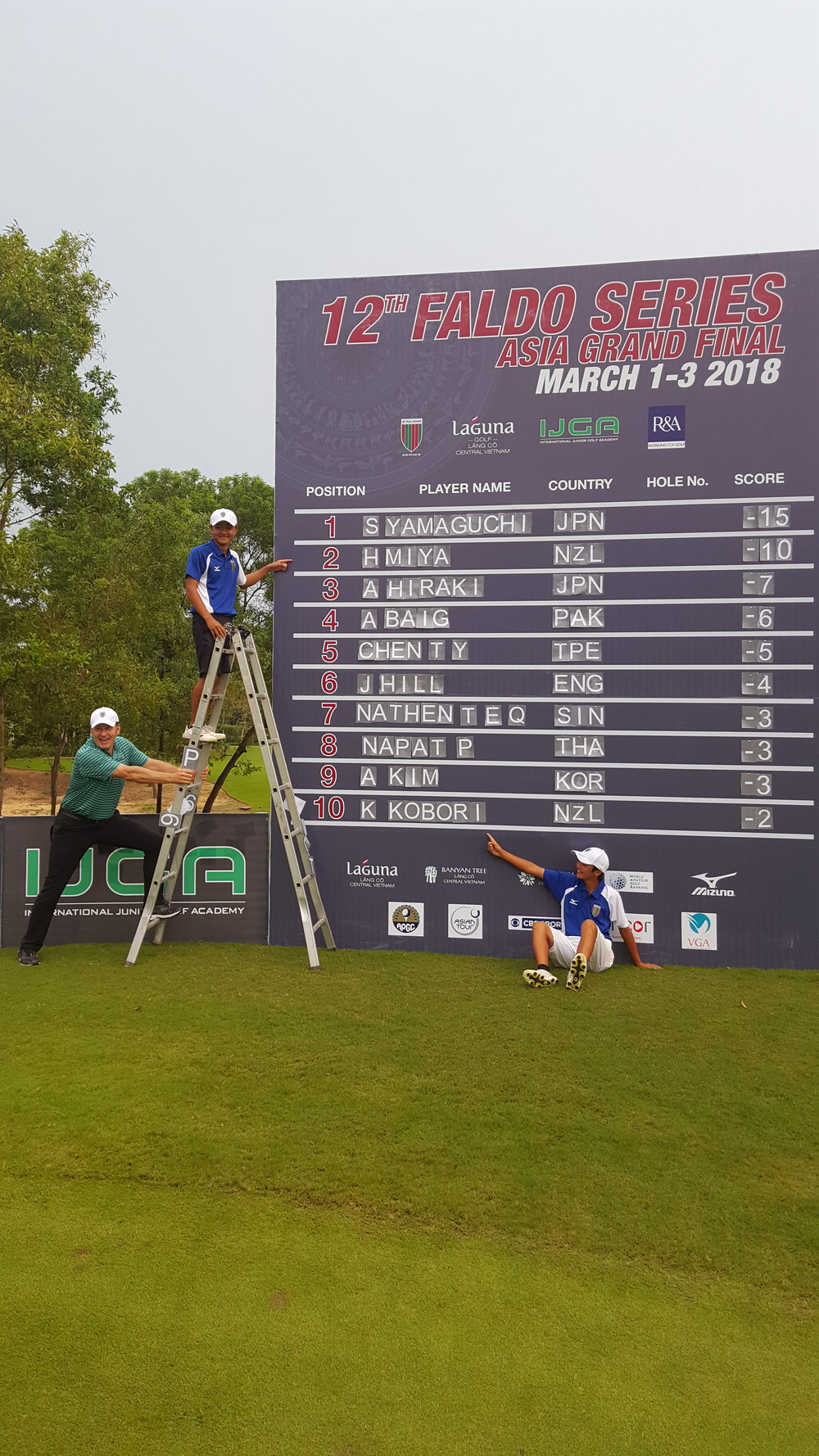 Hiroki Miya from Canterbury points to his name at second on the leaderboard at the Asian regional final of the Faldo Series as does Kazuma Kobori (10th) from Rangiora. Holding the ladder is tournament host Nick Faldo