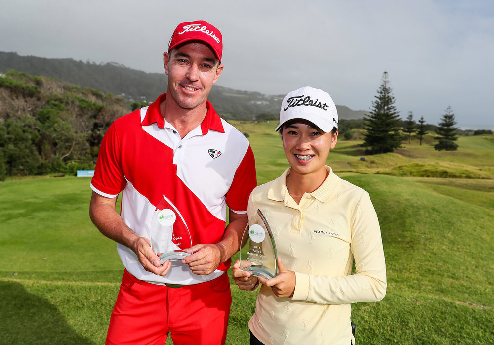 Gareth Paddison and Munchin Keh, the men's and women's winners of the Muriwai in Auckland