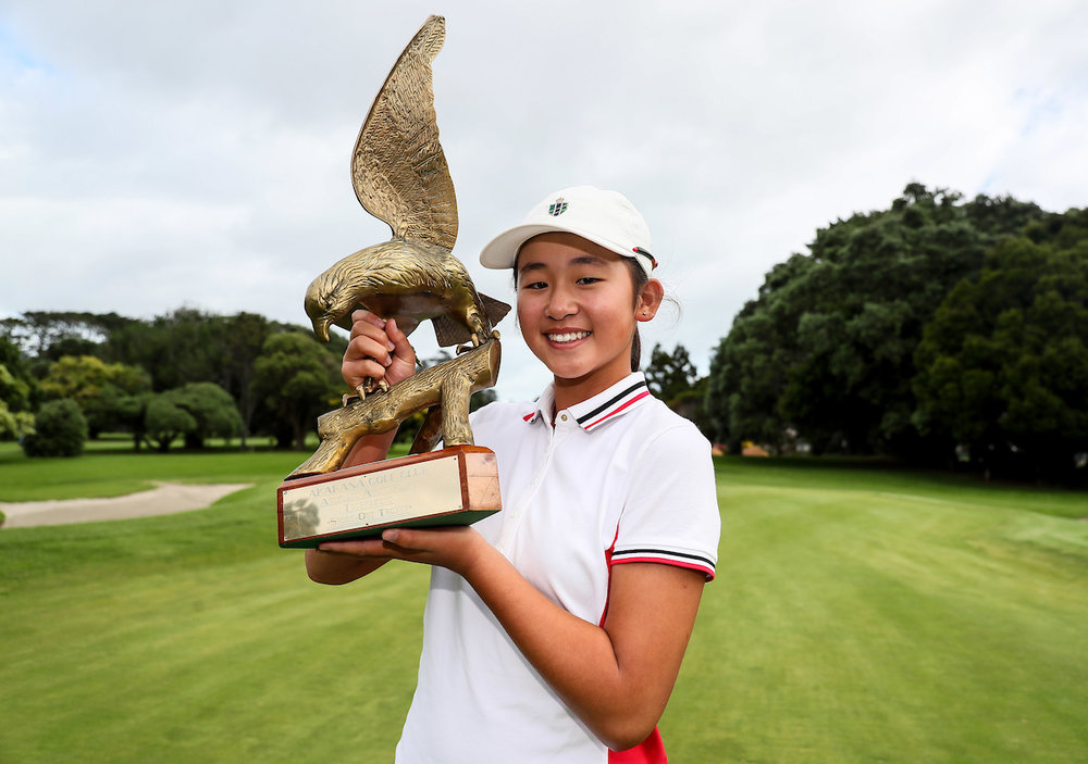 Vivian Lu with her trophy following her win in the Akarana Open in Auckland. Photo: BW Media