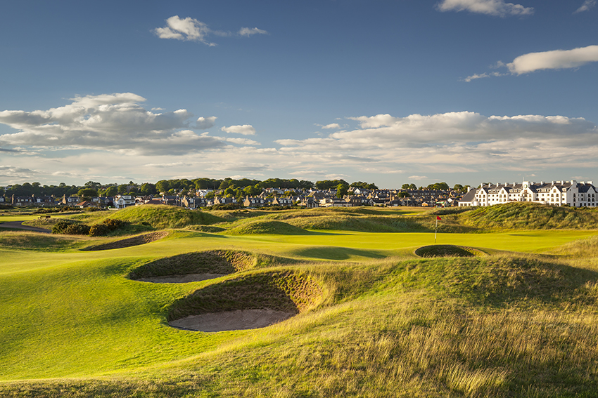 The 15th hole at Carnoustie golf course in Scotland