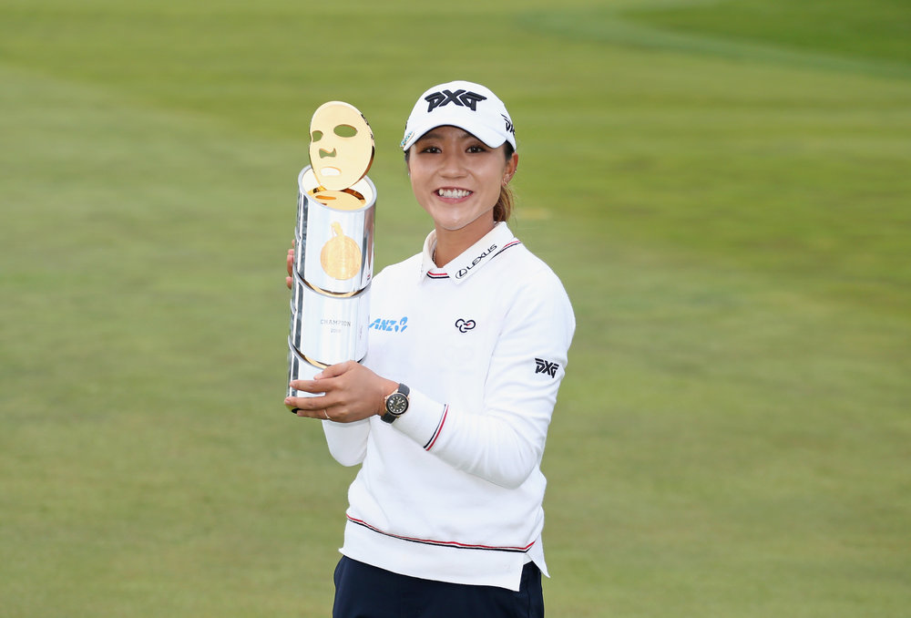 Lydia Ko with her trophy following her win in San Francisco last month