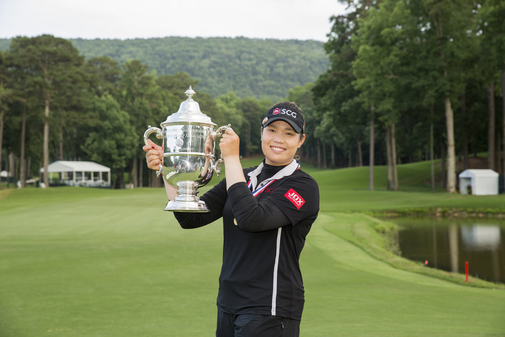 Ariya Jutanugarn holds the trophy after winning the  US Women's Open at Shoal Creek last month PHOTO USGA/Darren Carroll