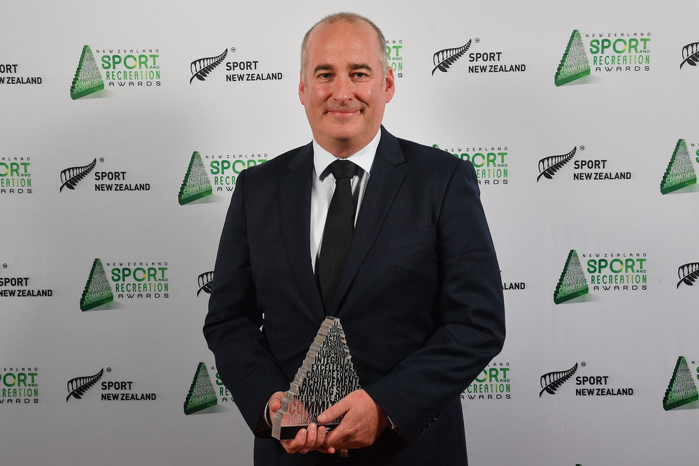 New Zealand Golf chief executive Dean Murphy with his trophy at the New Zealand Sport and Recreation Awards