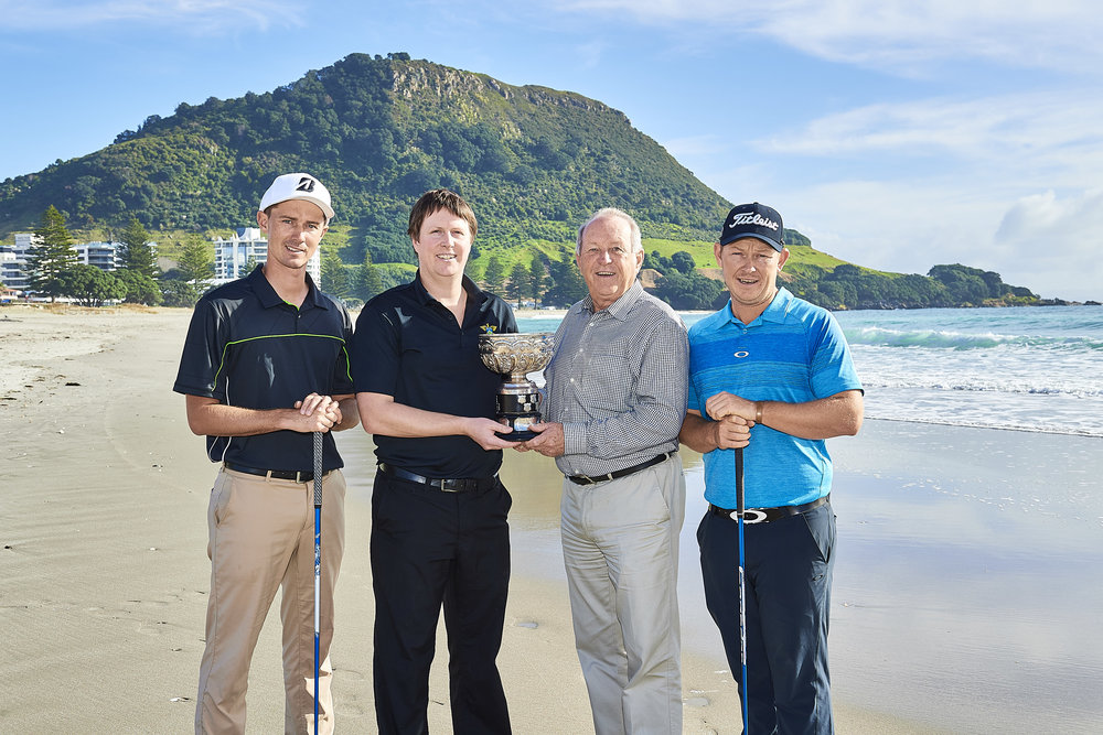 Hayden Beard, Michael Williams, Dave Gerrand and Kieran Muir pose following the announcement of a new tournament for New Zealand's Charles Tour