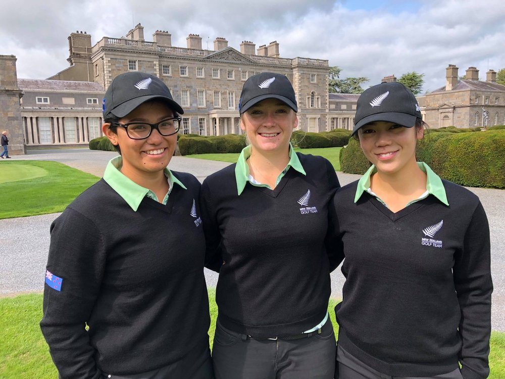 The New Zealand team of Julianne Alvarez, Amelia Garvey and Wenyung Keh at the Espirito Santo Trophy tournament in Ireland
