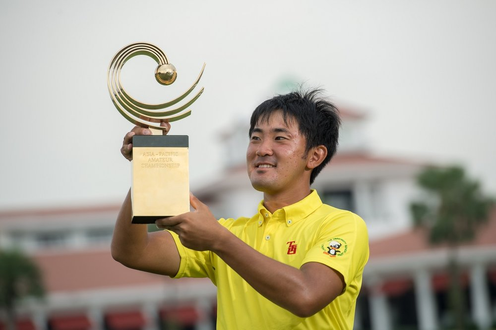 Takumi Kanaya of Japan with the trophy following his win in the Asia-Pacific Amateur Championship in Singapore. PGA Tour player Hideki Matsuyama of Japan won the same tournament in 2010 and 2011 when he was an amateur