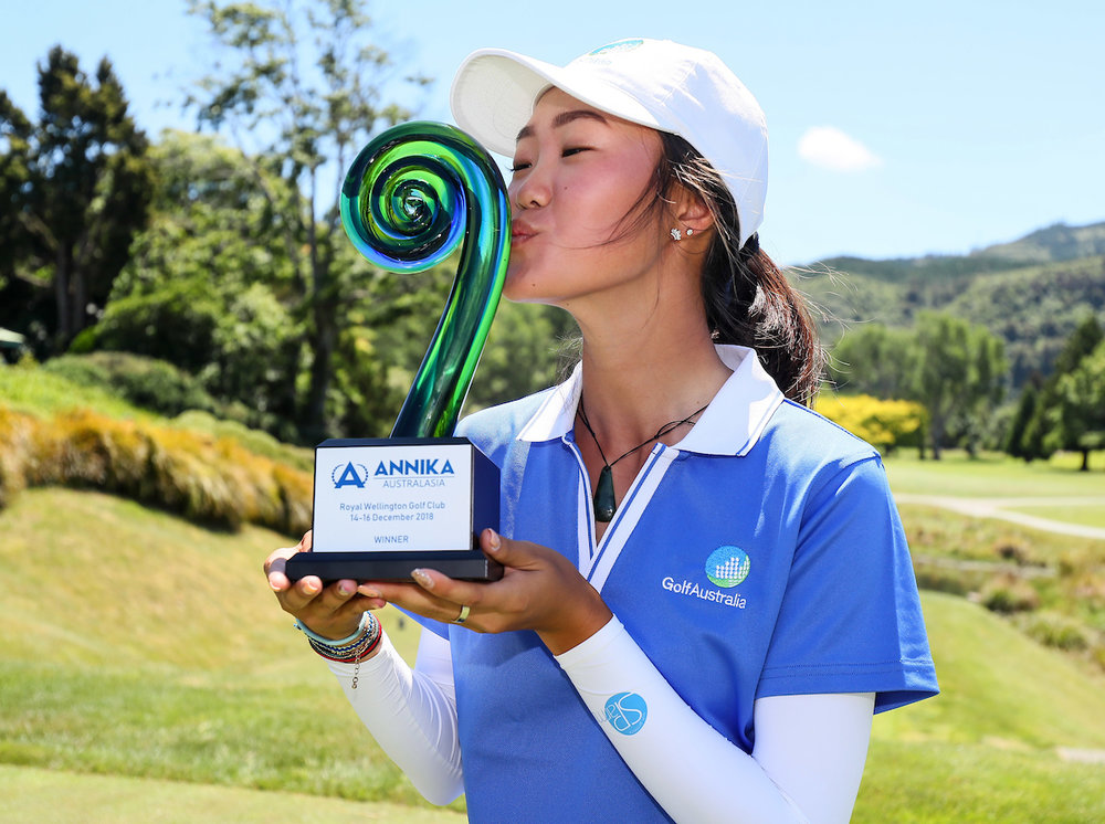 Grace Kim from Sydney with her trophy following her win in the inaugural Annika Invitational Australasia in Wellington last month.