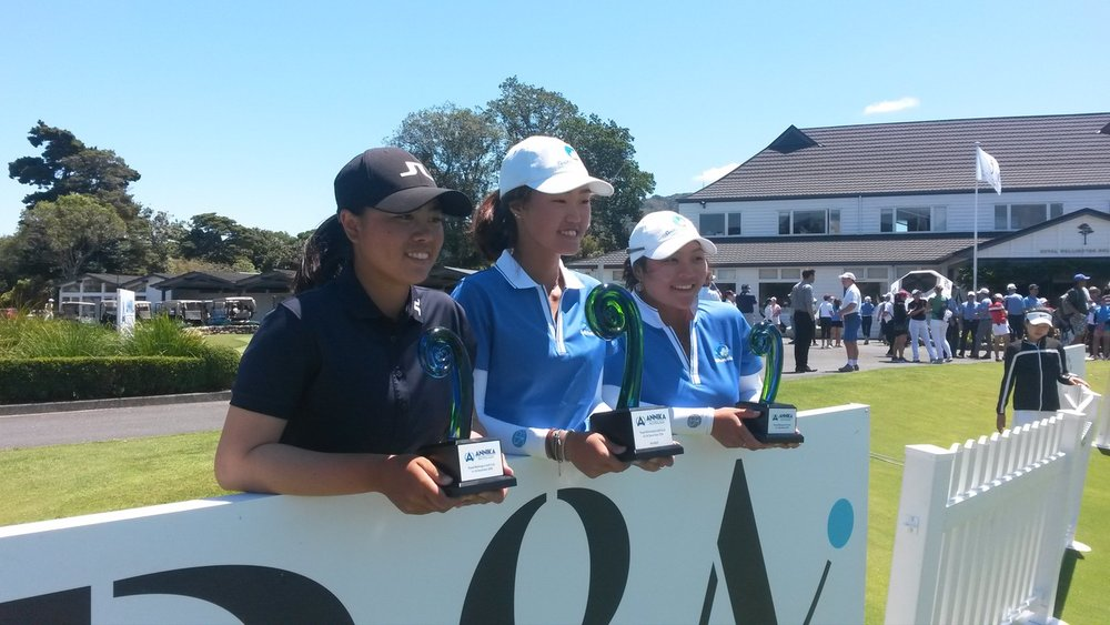 The top three players at the Annika Invitational Australasia tournament in Wellington. From left are runner-up Yuka Saso from The Phillipines, the winner Grace Kim from Australia and third-placed Doey Choi, also from Australia.