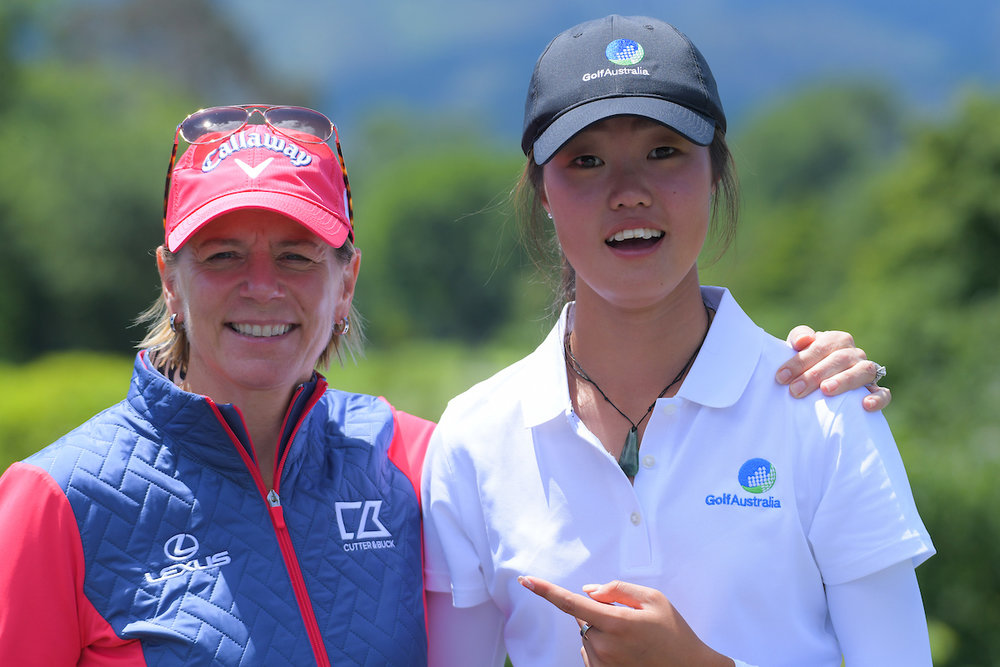 Former champion golfer Annika Sorenstam and Australian golfer Grace Kim pictured after Kim's brilliant 10-under par on the second day of the Annika Invitational Australasia tournament in Wellington. Kim went on to win the event.