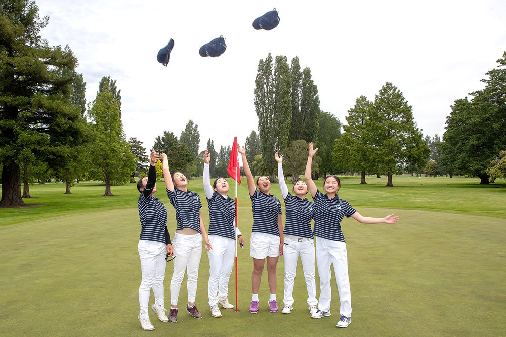 Hats fly high after Auckland won the Interprovincial tournament in Christchurch. From left are Carmen Lim, Vivian Lu, Miree Jung, Fiona Xu, Grace Jung and Kelly Wu.
