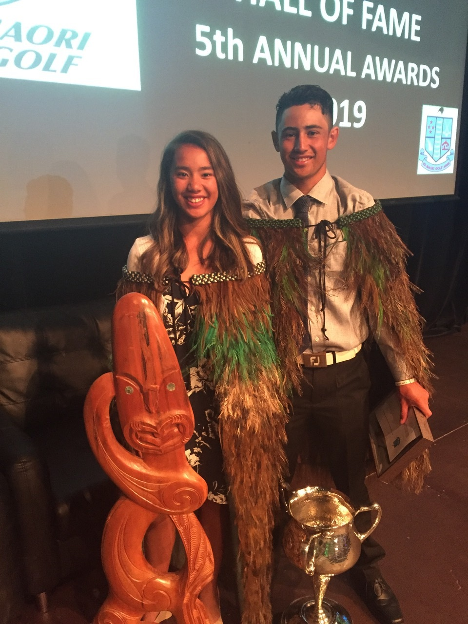 Mia Scrimgeour and James Tauariki, the women's and men's winners of the New Zealand Maori golf tournament in Taupo last month.