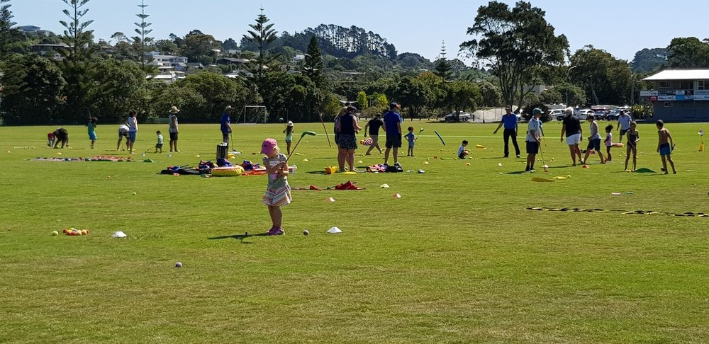 A recent golf in the park day with people of all ages having a go.